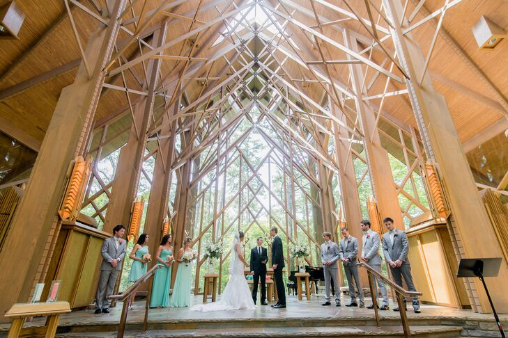 """The chapel was definitely the element that marked everyone, it was a beautiful glass chapel located in Hot Springs it is surrounded by trees and it just gave the ceremony a whimsical feel,"" Melissa says. ""Everyone loved it and thought it was such a magnificent place, the structure is all in wood and the light shines through into the chapel."""