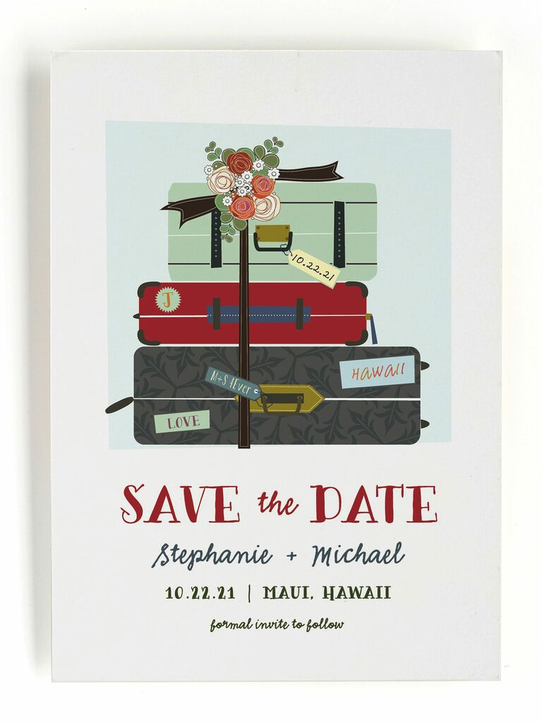 Minted luggage destination wedding save-the-date