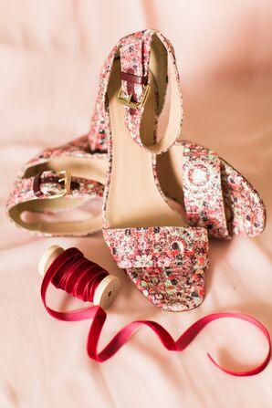 Bright Mosaic Print Ankle Strap Heels