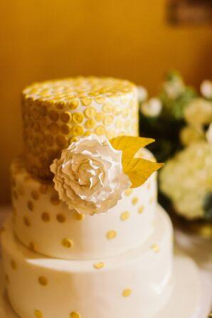 Gold and White Round Wedding Cake