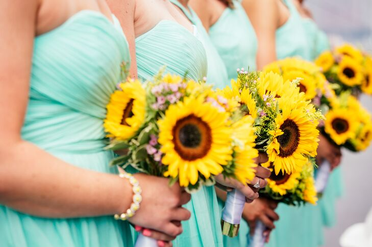 Yellow Sunflower Bridesmaid Bouquets