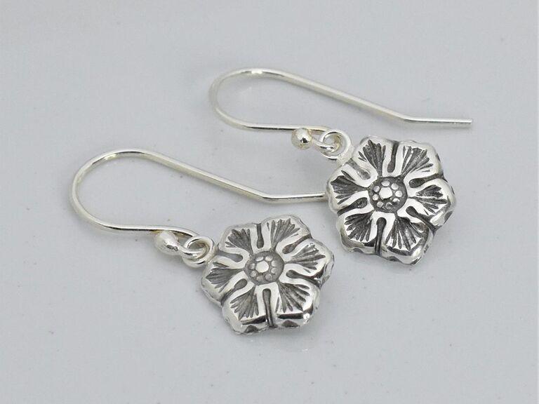Sterling silver plated cosmos flower earrings