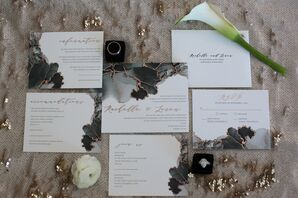 Wedding Invitations with Calligraphy and Agate Details