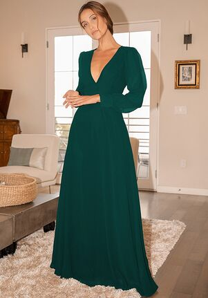 Lulus Talk About Divine Hunter Green Long Sleeve Backless Maxi Dress V-Neck Bridesmaid Dress