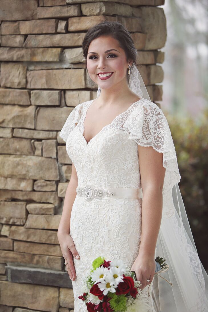 Lace Allure Bridal Wedding Dress With Lace Flutter Sleeves