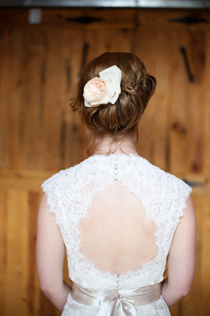 Simple Updo with Flower Accesory