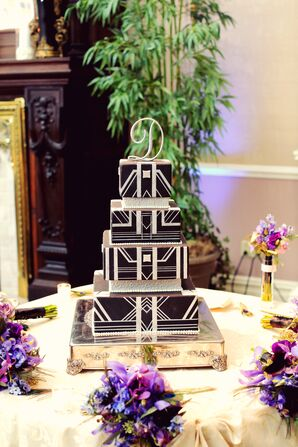 Black-and-White Geometric Wedding Cake