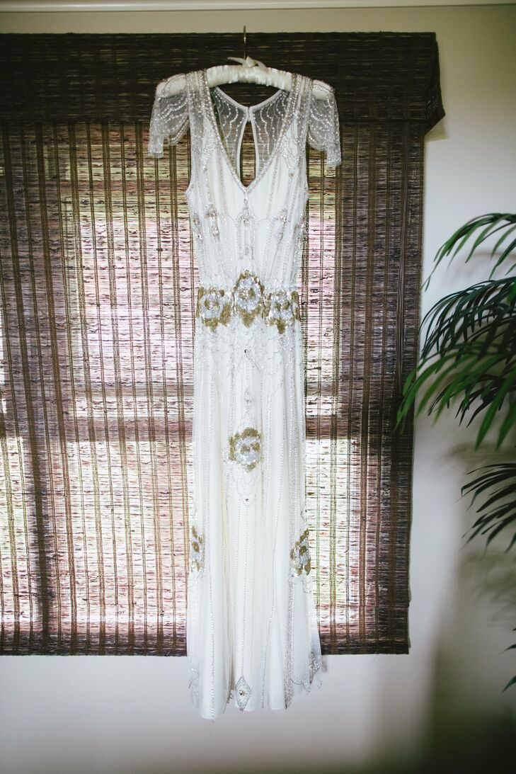 Julia wore this 1920s, art deco-inspired Jenny Packham dress down the aisle.