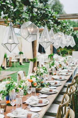 Geometric Chandeliers at Reception
