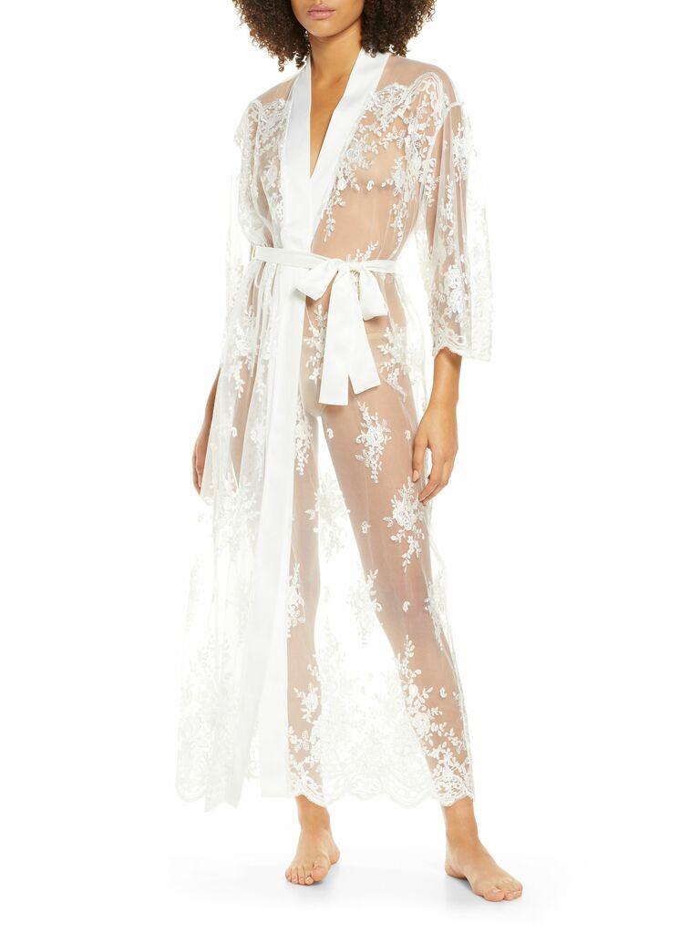 sheer lace long robe