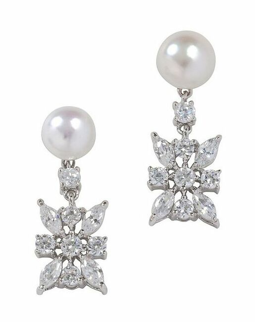 Camie Freshwater Pearl And Cubic Zirconia Drop Earring