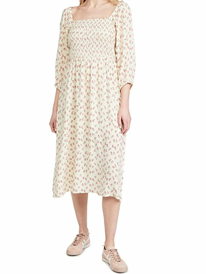 Yellow and pink floral cottagecore midi dress with 3/4 length sleeves