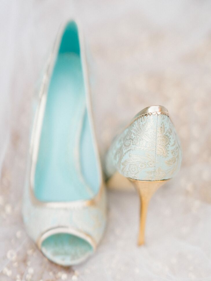 Mint and Gold Bridal Peep-Toe Pumps