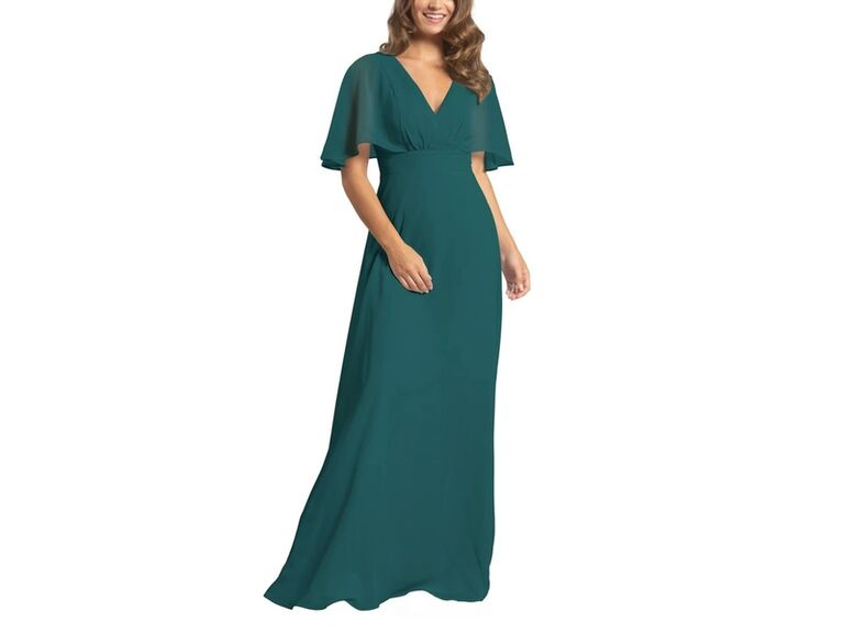 Long affordable green bridesmaid dress