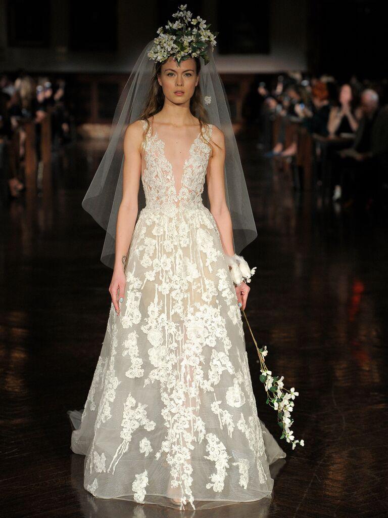 Reem Acra Spring 2019 sheer wedding dress with plunging neckline