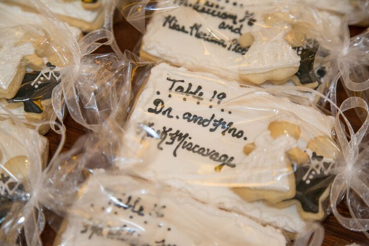 To streamline elements of their reception, Lindsey and Danny opted for shortbread cookies that doubled as seating cards and favors. Baked by the Stroudsmoor Inn's bakery, the cookies were inscribed with the guest's names and table numbers.