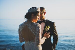 Bride Wearing Tiara and Beaded Open-Back Wedding Dress