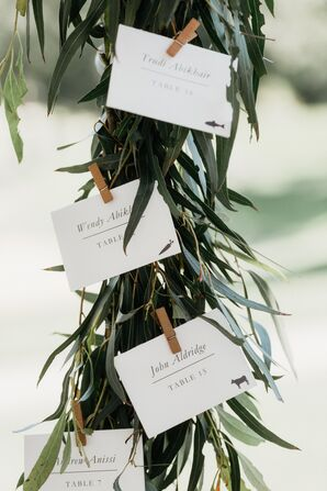 Simple Place Cards on Hanging Eucalyptus