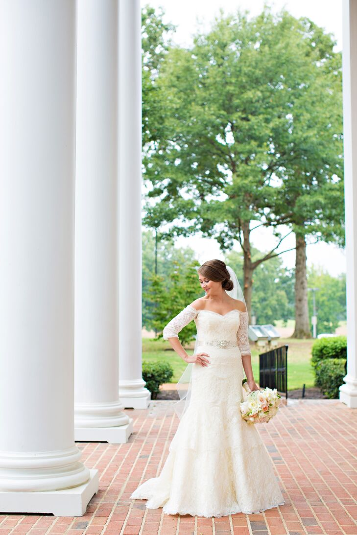 """To achieve the timeless, vintage-inspired wedding style they were after, the couple looked to the theme for inspiration when choosing their wedding day fashions. """"My dress was lace with 3/4 length sleeves. Never would I have ever imagined I would pick that style, but it was definitely me!"""" says Hailey. """"Rivini knows how to make beautiful gowns! I tucked the sleeves inside the dress for the reception, making my range of motion greater for dancing at our reception! I added a hint of sparkle with a beaded and silk belt."""""""