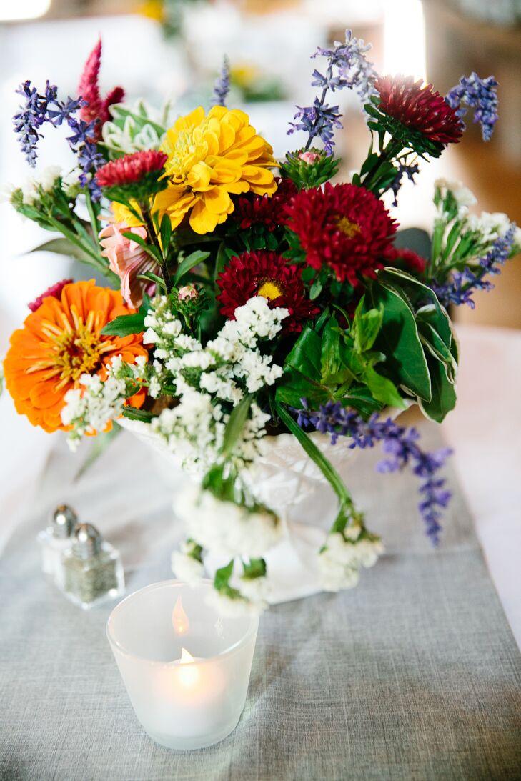Orange, Yellow, Burgundy Wildflower Centerpieces