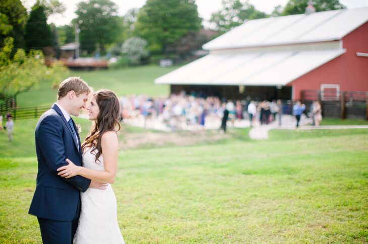 "Bethany and Ryan were married at Robin Hill Farm in Brandywine, Maryland. ""They had a beautiful red barn and a patio that would work perfectly for our cocktail hour,"" Bethany says. ""I fell in love instantly when we got there, and Susan, our point of contact, made us feel so welcomed!"""