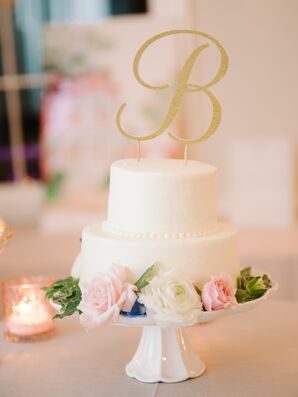 Two-Tier Buttercream Cake with Initial Topper