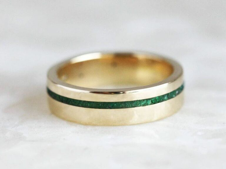 male engagement ring with emerald inlay