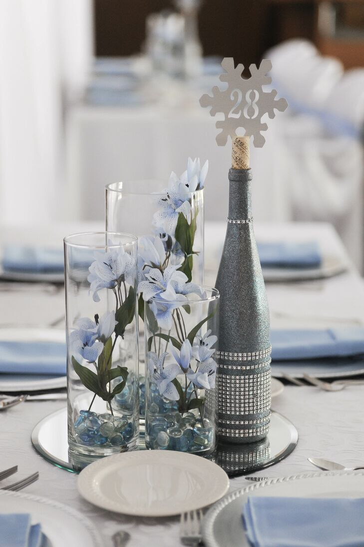 Wintry Blue and Silver Centerpieces