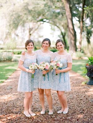 Pale Blue and Lace Bridesmaid Dresses
