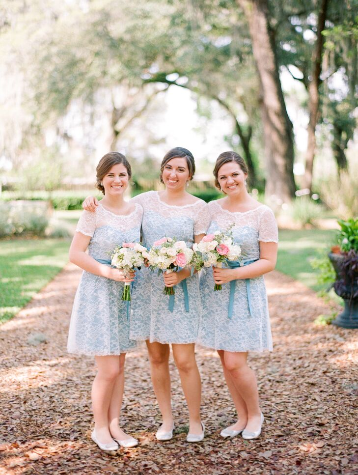 The bridesmaids wore light-blue Alfred Angelo dresses with an ivory overlay.