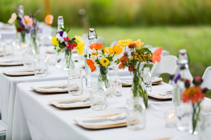 Yellow and Orange Poppy Centerpieces