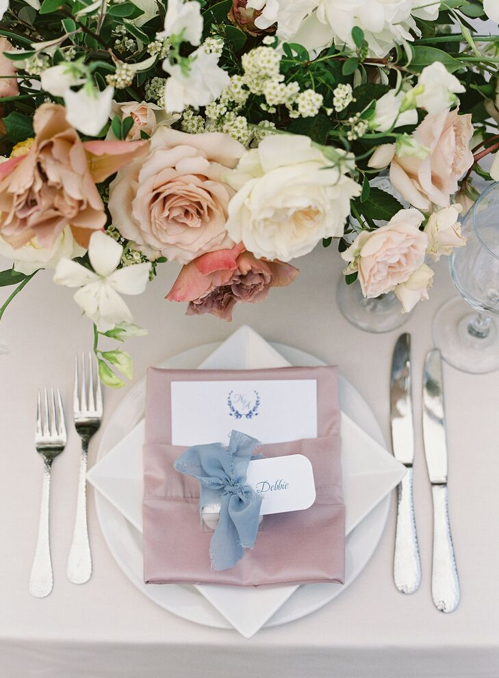 Place Settings with Blush Napkins at Holman Ranch in Carmel Valley, California