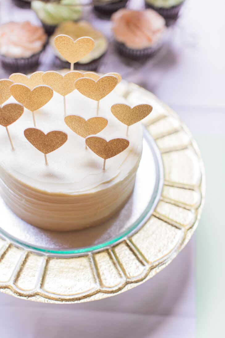 Gold Heart Cake Toppers