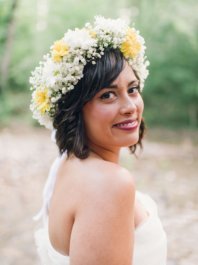Short Wedding Hairstyle With A White And Yellow Flower Crown
