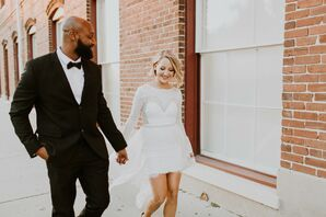 Classic Groom in Suit and Bow Tie and Bride in Short Dress with Detachable Skirt