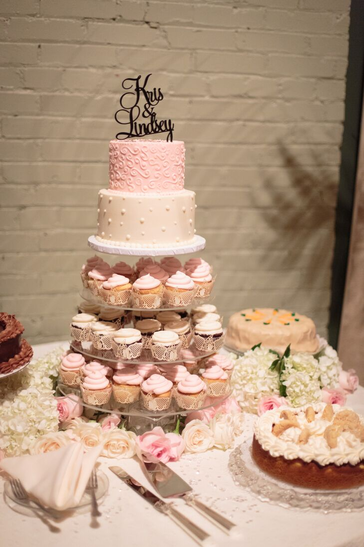 Pink and White Cake and Cupcake Tower