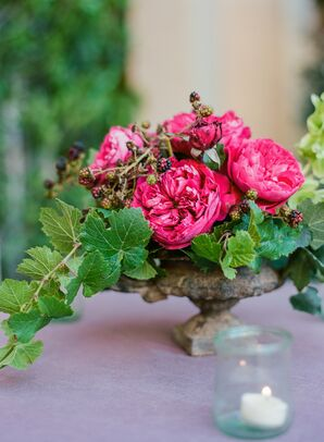 Blackberry and Garden Rose Centerpieces