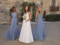 Lulus A-line wedding dress and blue Lulus bridesmaid dresses