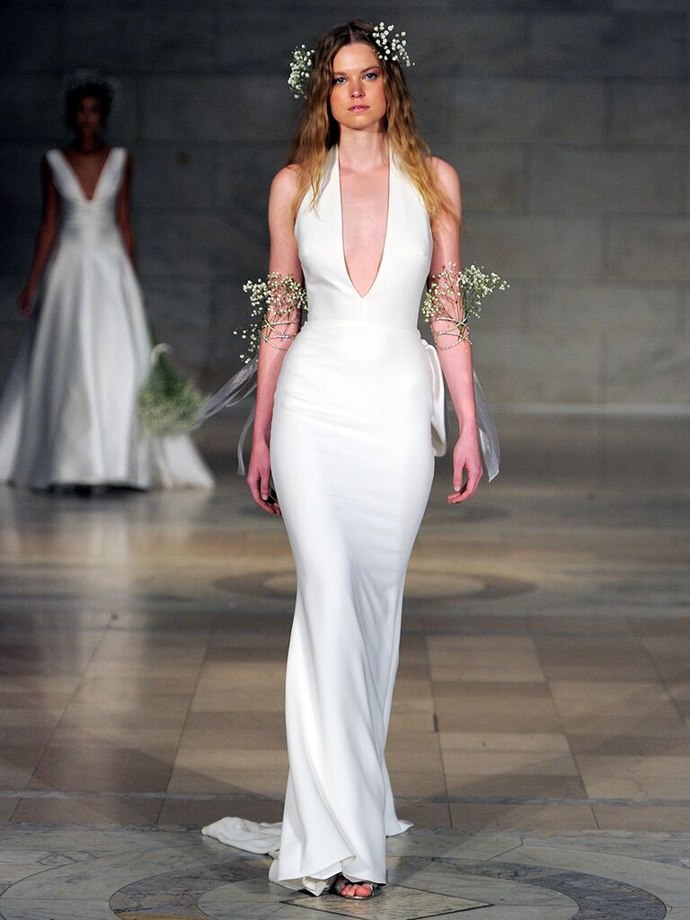 Reem Acra Fall 2018 halter gown in crepe