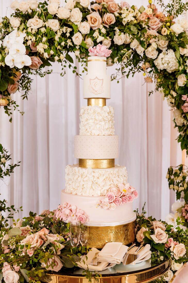 Floral White-and-Gold Wedding Cake at The Palace at Somerset in Somerset, New Jersey