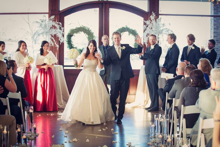 """Courtney and Ben tied the knot in a renovated old equestrian center called Hunter Valley Farm in Knoxville, Tennessee; their ceremony took place inside the pavilion, followed by a reception in the stable. """"It reminds me of a fairy tale, and something you would picture on a canvas inside a Tennessee mansion,"""" the bride says."""