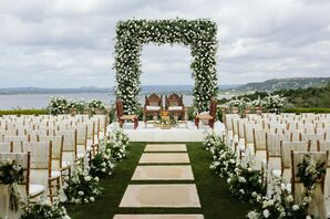 Flower-Filled Indian Ceremony Setup Overlooking Lake Travis