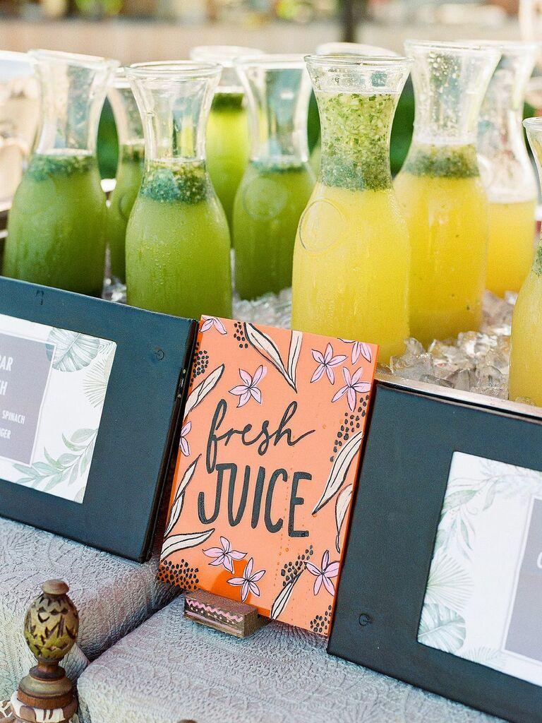 wedding drink ideas juice bar