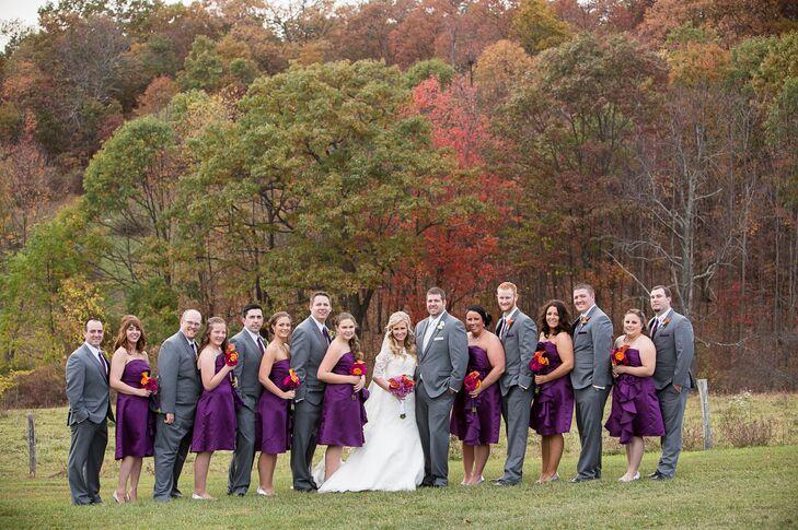 Knee-Length Purple Bridesmaid Dresses
