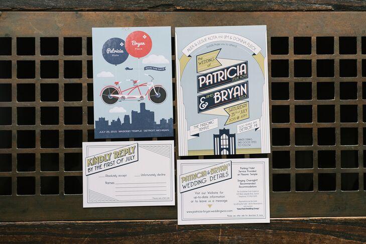 Custom Detroit-Themed Wedding Invitations