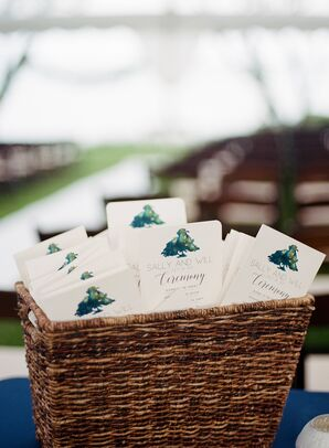 Elegant Ceremony Programs with Watercolor Tree Design