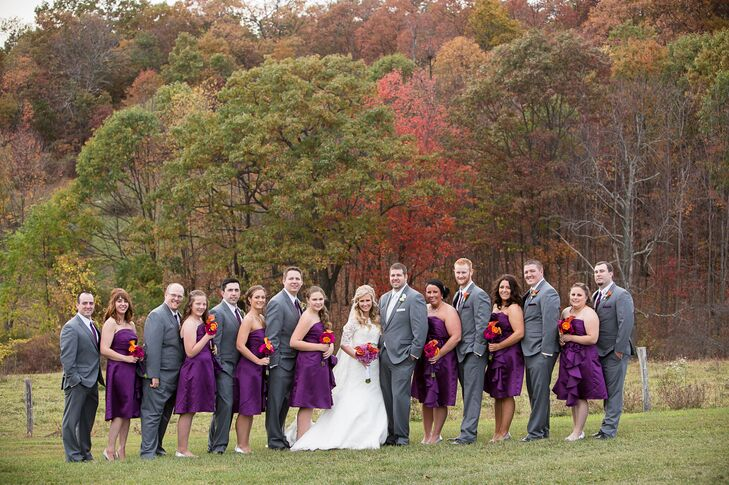 Knee-Length Purple Bridesmaid Dresses