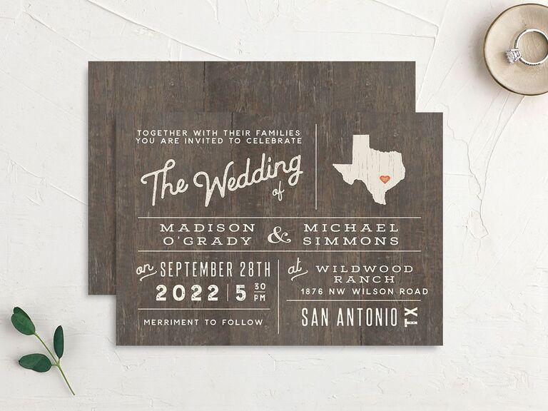 Custom state country wedding invitation