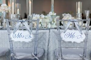 Lucite Chiavari Sweetheart Chairs with Personalized Signs