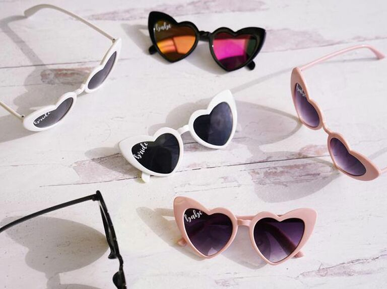 Heart-shaped sunglasses as bachelorette party game prize